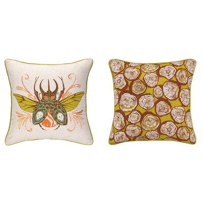 Insect Reversible Printed and Embroidered Throw Pillow