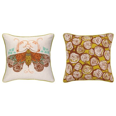 Moth Reversible Printed and Embroidered Throw Pillow