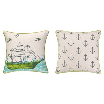 Ocean Reversible Printed and Embroidered Throw Pillow