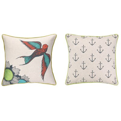 Floral Bird Reversible Printed and Embroidered Throw Pillow