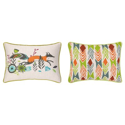 Running Fox Reversible Printed and Embroidered Lumbar Pillow
