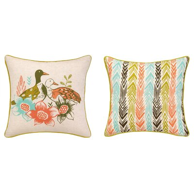 Duck Among Flower Printed Reversible Throw Pillow