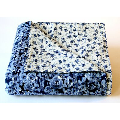 Pacific Twilight Cotton Kantha Reversible Throw
