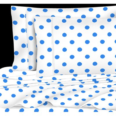 400 Thread Count 4 Piece Cotton Watercolor Dots Sheet Set Size: King, Color: Blue