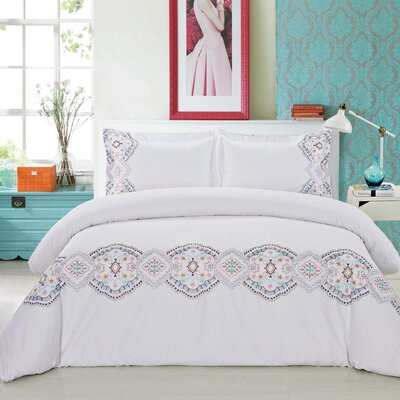 Morocco Embroidered 3 Piece Duvet Cover Set Size: Full/Queen, Color: White/Multi