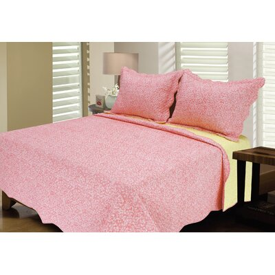 Reversible Quilt Set Color: Coral/Yellow, Size: Twin