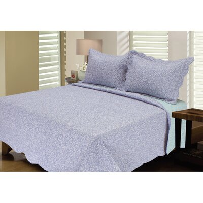 Reversible Quilt Set Color: Blue/Aqua, Size: Twin