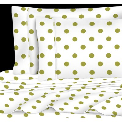 400 Thread Count 4 Piece Cotton Watercolor Dots Sheet Set Size: King, Color: Lime Green