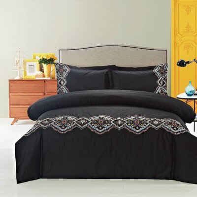 Morocco Embroidered 3 Piece Duvet Cover Set Color: Black/Multi, Size: King