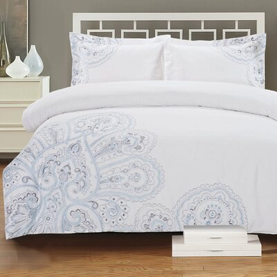 Paisley Embroidered 3 Piece Duvet Cover Set Size: King