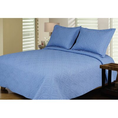 Reversible Quilt Set Color: Blue, Size: Full / Queen