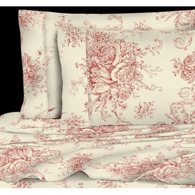Emerald Toile 400 Thread Count 100% Cotton Sheet Set Size: Full, Color: Red