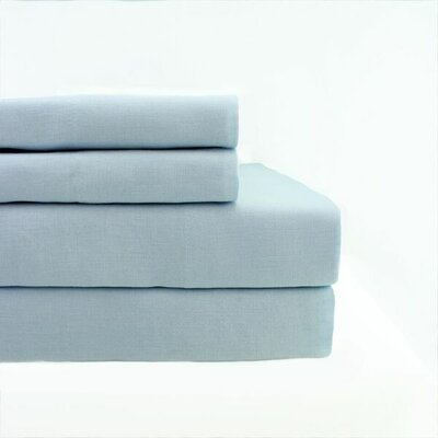 Belgian Linen Pillowcase Size: King, Color: Light Gray Blue