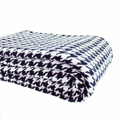 Houndstooth Yarn Dyed 100% Cotton Blanket Size: King