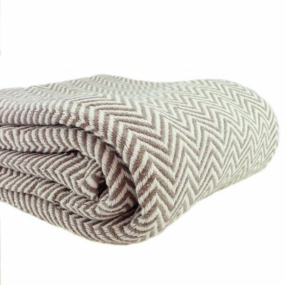 Herringbone Yarn Dyed 100% Cotton Blanket Size: Twin / Twin XL, Color: Taupe