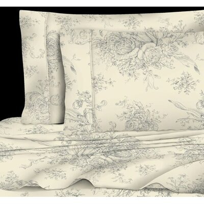 Emerald Toile 400 Thread Count 100% Cotton Sheet Set Size: Full, Color: Grey