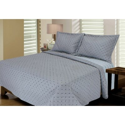 Tri-Diamond Reversible Quilt Set Color: Glacier Grey, Size: King