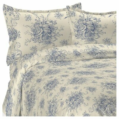 Toile Reversible Duvet Cover Set Size: King, Color: Navy
