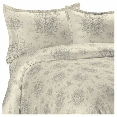Toile Reversible Duvet Cover Set Size: King, Color: Gray