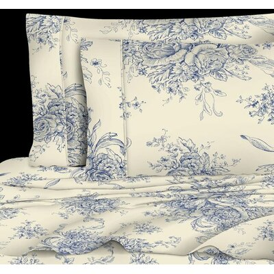 Toile 400 Thread Count 100% Cotton Sheet Set Color: Navy, Size: Full