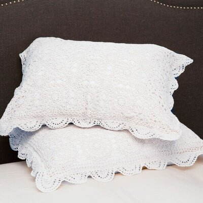 Handmade Crochet Cotton Standard Sham Color: White