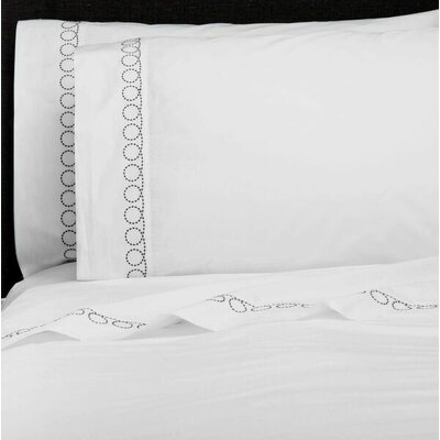 Loops Percale Embroidered Pillowcase Color: Charcoal