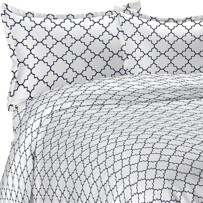 Lattice Duvet Set Size: Twin/Twin XL, Color: Navy