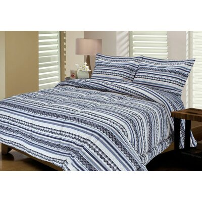 Telluride Quilted Reversible Comforter Set Size: King, Color: Purple / Charcoal