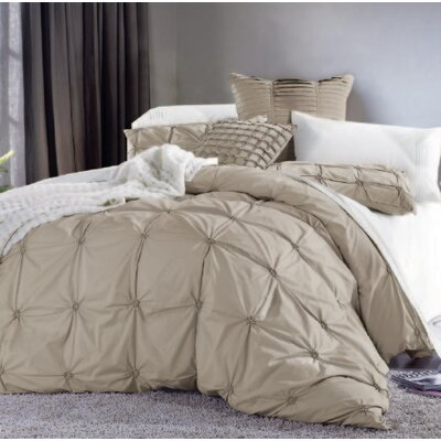 3 Piece Duvet Cover Set Color: Taupe, Size: King