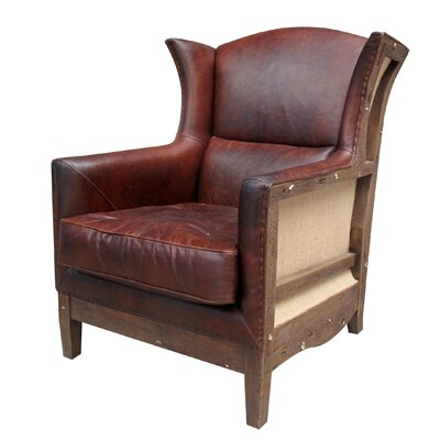 Deconstructed Leather Wing Chair