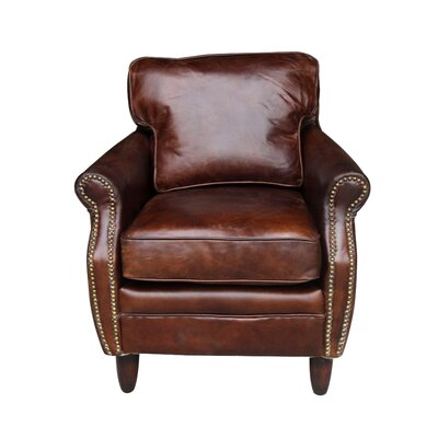Leeds Leather Club Chair Color: Vintage Cigar Brown