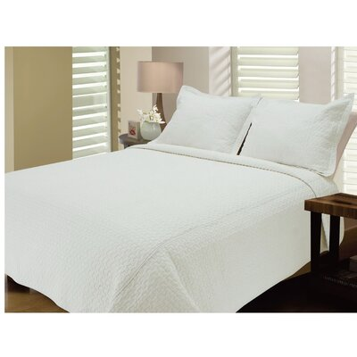 Seersucker Quilt Size: King, Color: White
