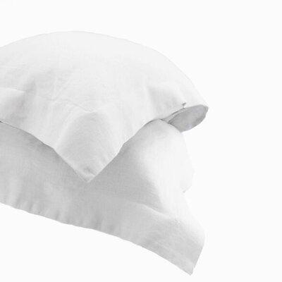 Nahyun Linen Euro Sham Color: White, Size: Standard
