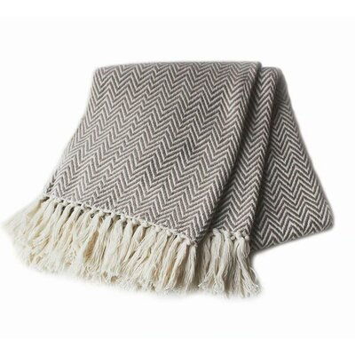 Herringbone Yarn Dyed 100% Cotton Throw Color: Taupe
