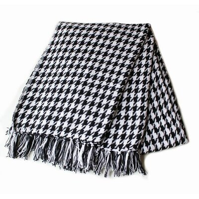 Houndstooth Yarn Dyed 100% Cotton Throw Color: Black