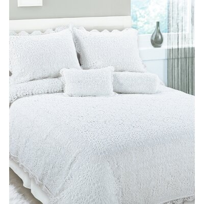 Handmade Crochet Coverlet Size: King, Color: White