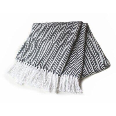 Herringbone Yarn Dyed 100% Cotton Throw Color: Grey