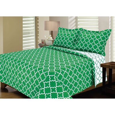 Lattice Reversible Quilt Set Size: King, Color: Bright Green