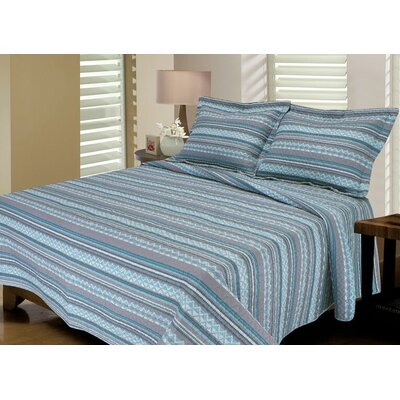 Telluride Reversible Quilt Set Color: Aqua / Taupe, Size: Full / Queen