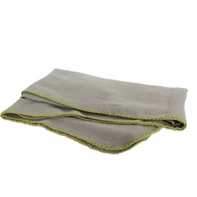 Whipstitch 100% Linen Throw Color: Vert De Gris