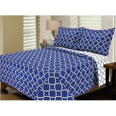 Lattice Reversible Quilt Set Size: Twin/Twin XL, Color: Bright Blue