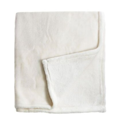 Bliss Velvet Fleece Blanket Size: Full / Queen, Color: Ivory