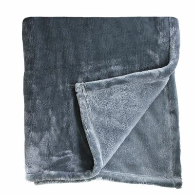 Bliss Velvet Fleece Throw Color: Charcoal