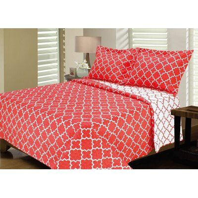 Lattice Reversible Quilt Set Size: King, Color: Bright Coral