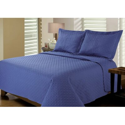 Reversible Quilt Set Size: King, Color: True Navy