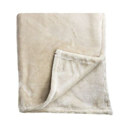 Bliss Velvet Fleece Blanket Size: Full / Queen, Color: Taupe