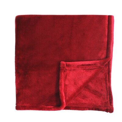 Bliss Velvet Fleece Blanket Size: Full / Queen, Color: Red Dahlia