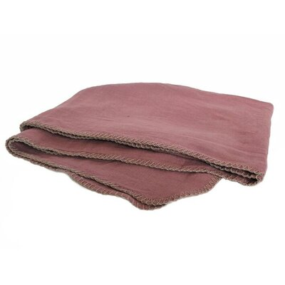 Whipstitch 100% Linen Throw Color: Bois De Rose