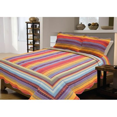 3 Piece Reversible Quilt Set Size: Full / Queen