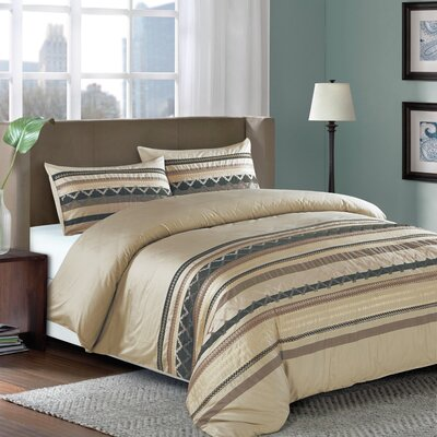 3 Piece Duvet Cover Set Color: Gold, Size: King